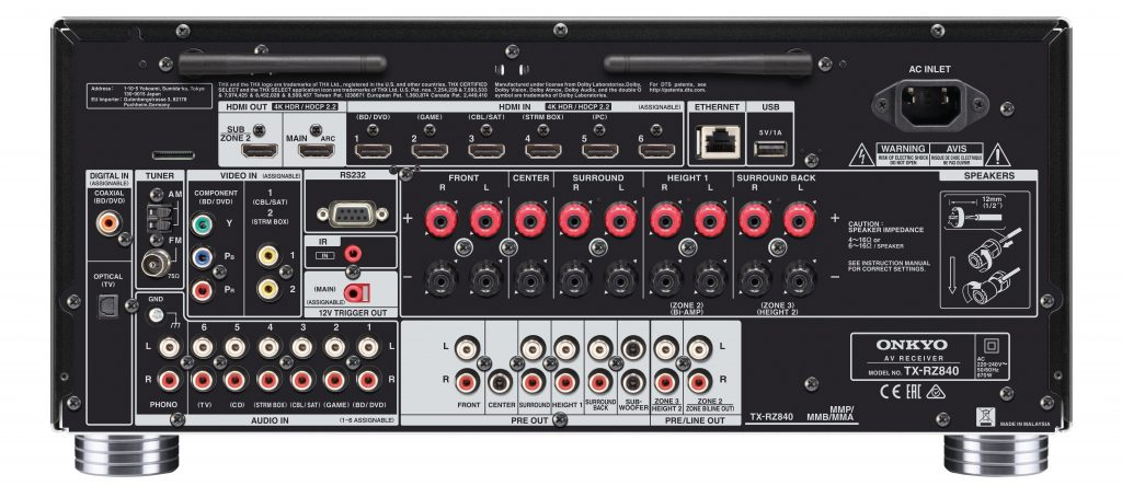 AV-ресивер Onkyo TX-RZ840 - задняя панель