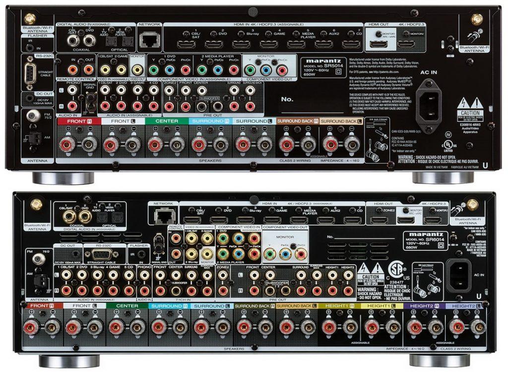AV-ресиверы Marantz SR5014 (верхний )и SR6014 - задняя панель